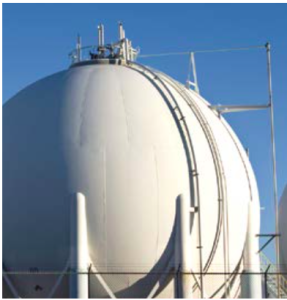 A liquefied gas storage tank.